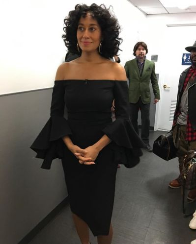 Hot-Or-Hmm-Tracee-Ellis-Ross-Good-Morning-America-Ellery-Flare-Sleeve-Black-Side-Slit-Pencil-Dress